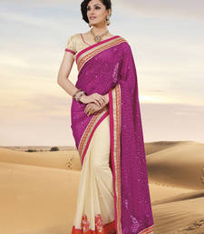 Buy Embellished Pink Jacquard Deigner Saree party-wear-saree online