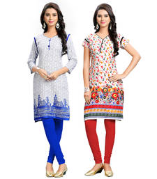 Buy multicolor printed cotton stitched kurti combo-kurti online