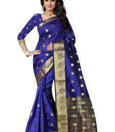 Buy Blue plain polycotton saree with blouse banarasi-silk-saree online