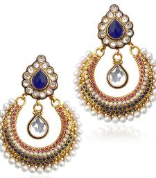 Buy Red blue stones like a bed of flowers  with Blue Stone earring ab2b danglers-drop online