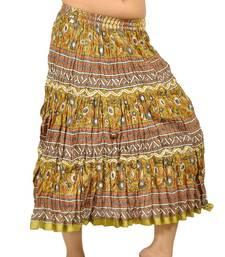 Buy Zari Border Crushed Mehandi Green Cotton Skirt skirt online