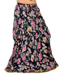 Buy Ethnic Multi Floral Designer Black Long Skirt skirt online