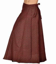 Buy Trendy Block Print Red Black Wrap Around Skirt skirt online