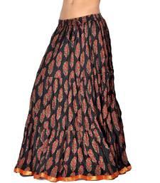 Buy Ethnic Zari Border Red Black Cotton Long Skirt skirt online