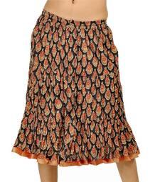 Buy Ethnic Black and Red Pretty Cotton Short Skirt skirt online