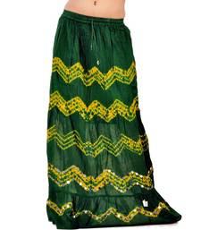 Buy Bandhej Green n Yellow Exclusive Cotton Skirt skirt online