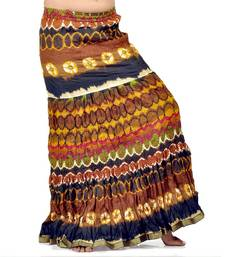 Buy Crushed Style Blue Brown Cotton Long Skirt skirt online