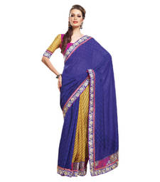 Buy Hypnotex Navy Blue And Yellow viscose nylon checks Saree Pep1408 party-wear-saree online