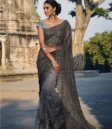 Buy Grey embroidered net saree with blouse party-wear-saree online