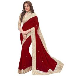 Buy Maroon Stone Embellished georgette saree with blouse Piece georgette-saree online