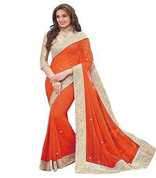 Buy Orange Stone Embellished georgette saree with blouse Piece georgette-saree online