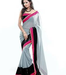 Buy Grey plain georgette saree with blouse party-wear-saree online
