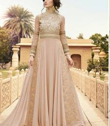 Light pink embroidered georgette semi stitched salwar with dupatta shop online