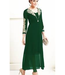 Buy green embroidary georgette designer kurti  (premium qaulity) party-wear-kurti online