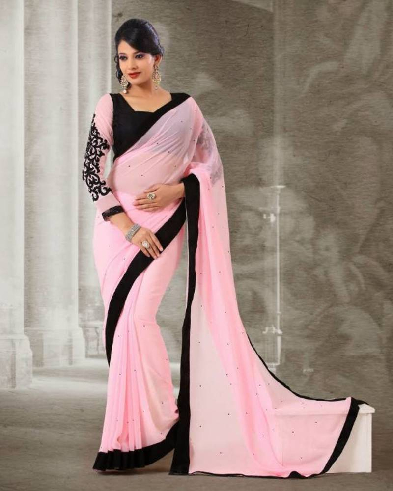 Buy Light Pink Colour Georgette With Black Stone Work Sari