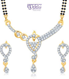Sukkhi Glorius Gold and Rhodium Plated Cubic Zirconia Stone Studded Mangalsutra Set(14026MSCZK1300) shop online