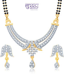 Sukkhi Luxurious Gold and Rhodium Plated Cubic Zirconia Stone Studded Mangalsutra Set(14027MSCZK1400) shop online