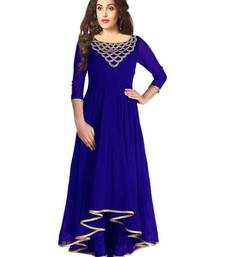Blue printed georgette kurtis shop online