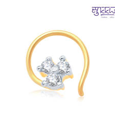 Buy Sukkhi Briliant Gold and Rhodium Plated CZ Nose Pin(36031NPCZK200) nose-ring online