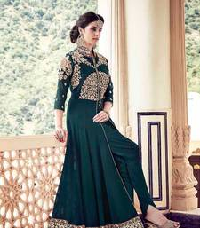 Buy Green embroidered georgette unstitched salwar with dupatta anarkali-salwar-kameez online