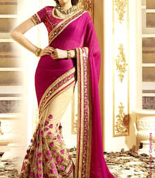 Buy Purple embroidered georgette saree with blouse georgette-saree online