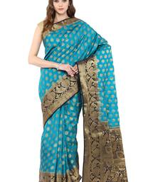 Buy Blue woven faux silk blend saree with blouse silk-saree online