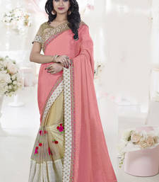 Buy Light pink embroidered silk saree with blouse ethnic-saree online