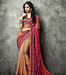 Buy Vishal Orange Rani Black Saree Iifanazakat33511 party-wear-saree online