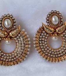 Buy Mango Stone Studded Moon Drop Earring - Pearl danglers-drop online