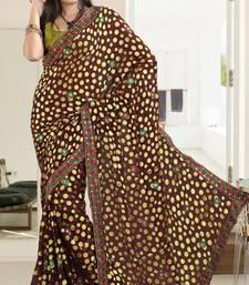Buy Elegant Brown Brasso Saree With Blouse brasso-saree online