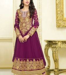 Buy Purple embroidered georgette semi stitched salwar with dupatta anarkali-salwar-kameez online