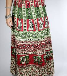 Buy Block Print Wrap Around Skirt plus-size-skirt online