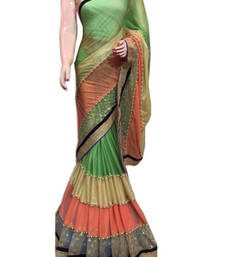 Buy Light Green Multi Layer Lycra Fabric saree with blouse dupion-saree online