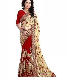 Buy red embroidered brasso saree with blouse designer-embroidered-saree online
