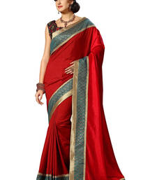 Buy Red embroidered dupion silk saree with blouse dupion-saree online