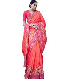 Buy Peach embroidered tussar silk saree with blouse tussar-silk-saree online
