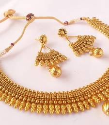 Buy Antique metallic necklace set with gold ball drops necklace-set online