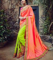 Buy Coral embroidered tussar silk saree with blouse tussar-silk-saree online