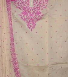 Buy Beautiful Beige and Pink Chanderi Dressmaterial party-wear-salwar-kameez online