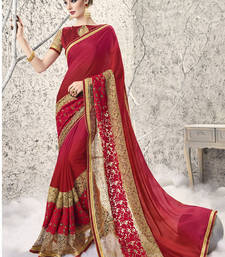 Buy Red embroidered georgette and net saree with blouse designer-embroidered-saree online
