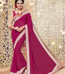 Buy Raspberry embroidered georgette saree with blouse party-wear-saree online