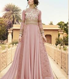 Buy Light Pink embroidered georgette semi stitched salwar with dupatta wedding-salwar-kameez online