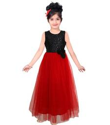 Buy Red art silk semistitched gown with flower8-10years kids-salwar-suit online