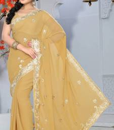 Buy Beige Color Faux Georgette Saree with Blouse georgette-saree online