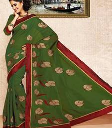 Buy Mehandi Green Color Cotton Saree DCS124 cotton-saree online