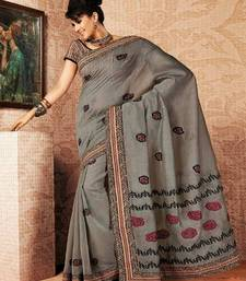 Buy Grey Color Cotton Saree DCS128 cotton-saree online