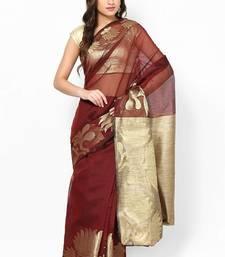 Buy Supernet Fancy Aanchal Border Saree supernet-saree online