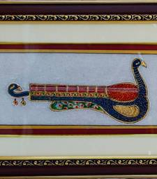Buy eCraftIndia Marble Painting of Mayur Veena wall-art online