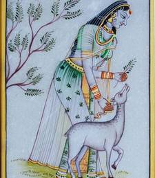 Buy eCraftIndia Pretty Ragini Marble Painting playing with Calf wall-art online