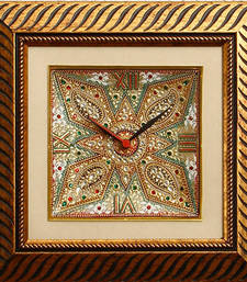 Buy eCraftIndia Dazzling Golden Colored Marble Wall Clock with LED & Wooden Frame wall-clock online